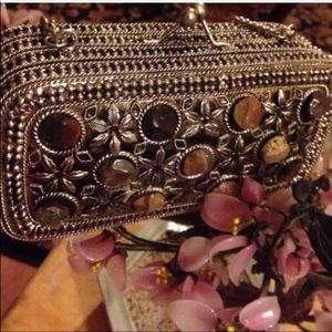Stunning vintage clutch with chain real stones